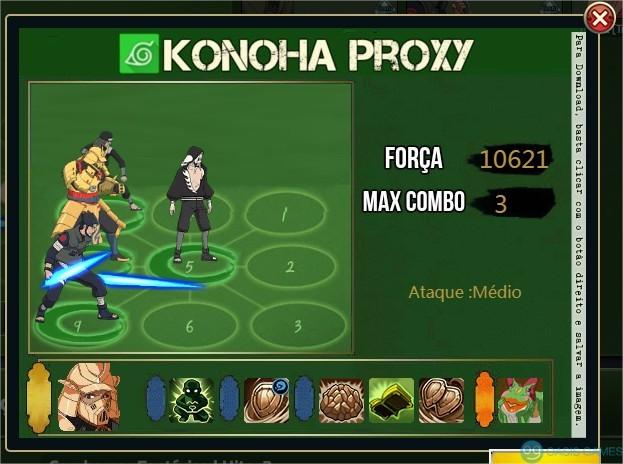 Konoha Proxy - Simulador de Combos - Naruto Online BR - Google Chrome