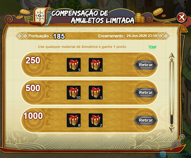 Compensação de Amuletos Limitada