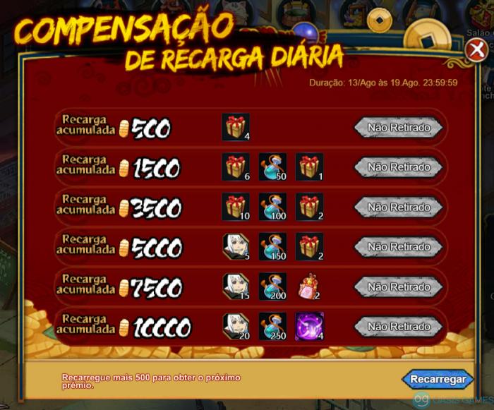 CompensaçãoDaRecargaDiaria
