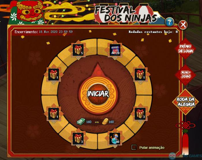 Festival dos ninjas roleta